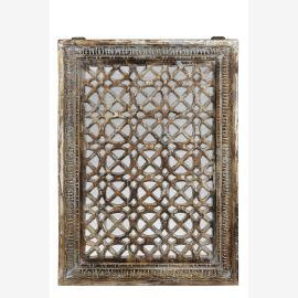 Indien großes Fenster Rahmen mit Ziergitter geschnitzt etwa 50 Jahre alt