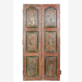 Indien kunstvoll bemalte Tür traditionelle Dekore Rajasthan ca 1930
