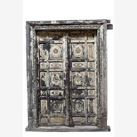 Indien weiß gekälkte Tür Tor mit Rahmen geschnitzt Rajasthan