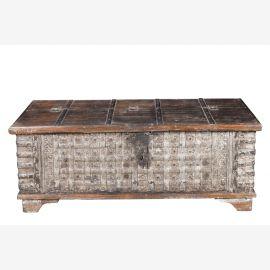 India flache breite Truhe Box Cafehaustisch Antik um 1930