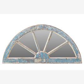 Indien um 1950 halbrunder Spiegel in blau bemaltem Fensterrahmen Rajasthan