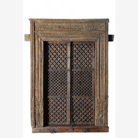 Old India riesige Tür Tor zweiflüglig mit Rahmen geschnitzt Rajasthan