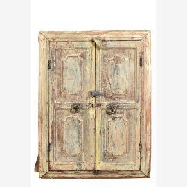 Indien um 1950 rustikale Kommode Doppeltüre helles Holz Gebrauchsspuren