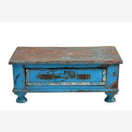 Indien 1940 massiver kleiner Schreibtisch shabby chic look azurblaues Finish Guarat