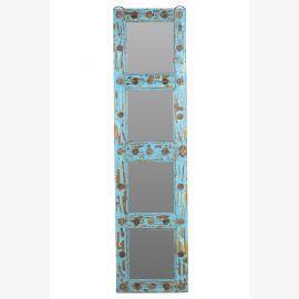Indien mannshoher Spiegel lichtblauer Holzrahmen (antik ca. 1920) aus Türflügel shabby chic