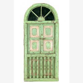 Indien großes halbrundse Fenster Einbau Segment grüne Antiklook Goa ca 1925