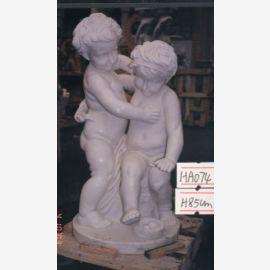 Skulptur Kinder stehend Putten Paar für Park weißer Marmor