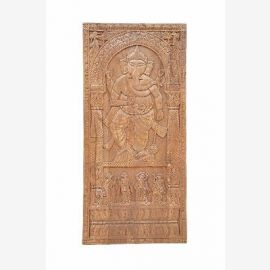 INDIA antique art RELIEF carving on wood GOD SHIVA wall picture door size (ID)