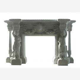 Marmorkamin weiß Kaminfassade mit Figuren der Antike  K081