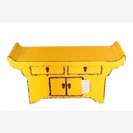 Kleine China Kommode antik in gelb