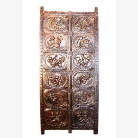 Aufwendig gearbeitete Kamasutra Tür aus Palisander