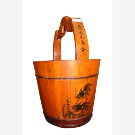 Original China Eimer aus Holz ideal als Wäschetruhe