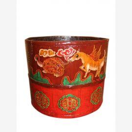 China Holzgefaess aelter Blumentopf mit schoener Bemalung