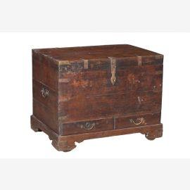 Indien 1900 antike Hochzeitstruhe Kassette Box Metallbeschlag Jodhpur