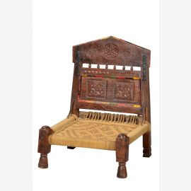 Indien klassischer Stuhl Sitz geschnitztes dunkles Hartholz gedrechselte Beine