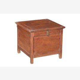 Indien kleine, quadratische Truhe Box Blumenbank warmes Naturholz