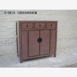 Edler Holzschrank aus China in lila grau gehalten.