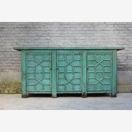 Robustes Holzsideboard aus China blau-grün Schnitzereien.