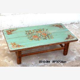 Naturholztisch aus China, türkis traditionelle Bemalung