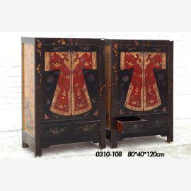 doppeltes hochwertiges Holzschränkchen, mitternachtsblau aufwendige Gestaltung