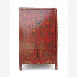 Chinesischer Hochzeitsschrank, massives Holz, Dunkelrot, traditionelle Bemalung