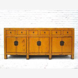 Chinesisches Sideboard aus hochwertigem Holz gefertigt. Geometrische Linienführung
