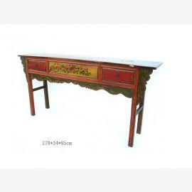 Chinesischer Stuhl aus edlem Holz mit farblich abgesetzten Schubladen