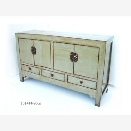 Chinesisches Sideboard aus massiver Pinie in Used-Look Optik