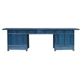Chinesischer Tisch in Pfauenblau mit Schubladen.