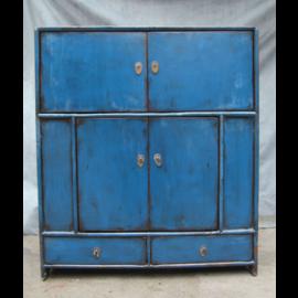 Anrichte aus Vollholz aus China im Used-Look, starkes Blau