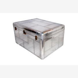 Großes Bordcase Truhe Box recyceltes Aluminium mit Verschlüßen edler Silberglanz