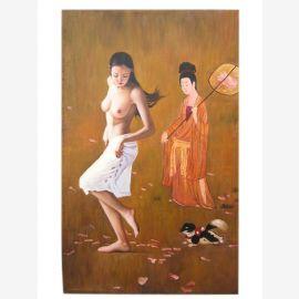 China Frau Aktbild Größe wie Original Ölgemälde auf Leinwand nach bekanntem Meister