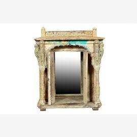 Indien 1890 kleiner Spiegel Altar Kommode geschnitzte Säulen shabby chic Gujarat