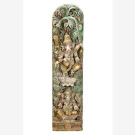 Geschnitztes antikes hölzernes Wandbild Skulptur des Elefantengotts Ganesha