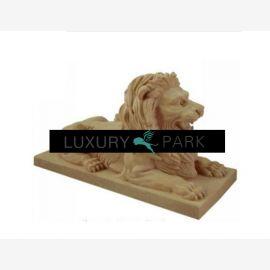Thailand prächtiges Löwen Paar Skulpturen auf Sockeln bunter Marmor
