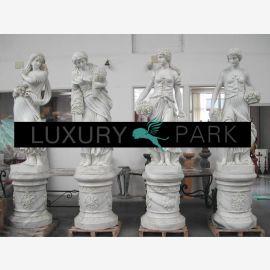 Vier Jahreszeiten antike Frauen Skulpturen weißer Marmor Klassik
