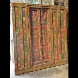 Indische  Tür Fenster Antik 100 Jahre mit Ornamenten Kerala