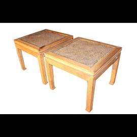 Elm Holz Couchtisch Paar Bambus Insert