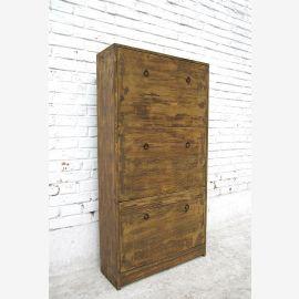 China Schuhschrank mit 3 Fächern Kommode highboard Pinienholz. Der Schuhschrank wird aus antikem Holz in traditioneller Weise in reiner Handarbeit in China gefertigt.