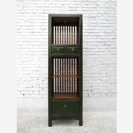 China schlankes Regal Regalturm mit kleinen Schubladen Pinie dunkelgrün