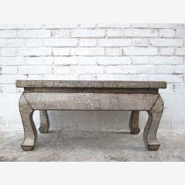 kleiner flacher Tisch Konsole in cremeweiß Vollholz China antik