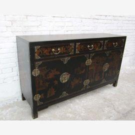 China Kolonial Stil schwarze Kommode inMotif Optik Schubladen und Türen