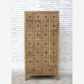 Apothekerschrank  China Schrank Kommode Pinie Naturholzoptik mit 26 Schubladen