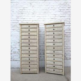 China hohe Schubladenkommode Schrank dreizehn Schübe Pinienholz weiß