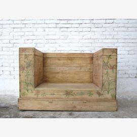 China Beijing um 1920 klassische Sitzbank Sessel helle Ulme naturfarben