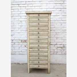 China hohe Schubladenkommode Schrank 13 Schübe weißes Pinienholz