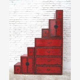 China hohe Stufen Kommode rotbraun viele Schubladen beidseitig aufstellbar unter Treppen
