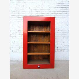 China mittleres (iphone-Regal) mit drei Einlegeböden und rot lackiertem Rahmen Pinienholz