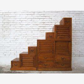 China große Treppen Stufen Kommode hellbraunbeidseitig aufstellbar