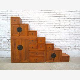 China Treppen Stufen Kommode flache Form hellbraun ideal unter Schrägen